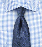 Metallic Blue Textured Silk Tie