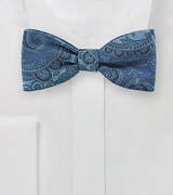Paisley Silk Bow Tie in Denim Blue