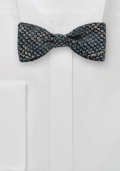 Gray Designer Bow Tie with Snake Skin Print