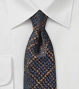 Snake Skin Design Skinny Tie in Brown and Navy