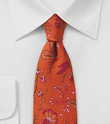 Floral Wool Tie in Autumn Orange