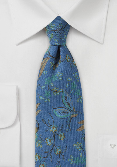 Indigo Blue Floral Tie in Wool