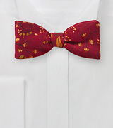 Wool Bow Tie with Florals in Red and Orange