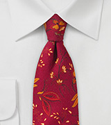 Red and Orange Floral Wool Tie