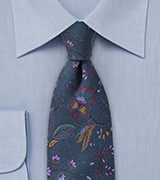 Skinny Wool Tie in Dark Teal Blue