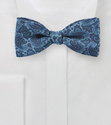 Intricate Blue Paisley Bow Tie