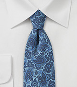 Unique Skinny Paisley Tie in Blue