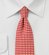 Bright Red Foulard Skinny Tie