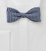 Mini Graphic Print Bow Tie in Blue