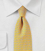Canary Yellow Foulard Print Tie