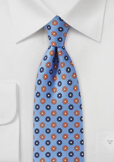 Sky Blue Tie with Orange and Navy Florals