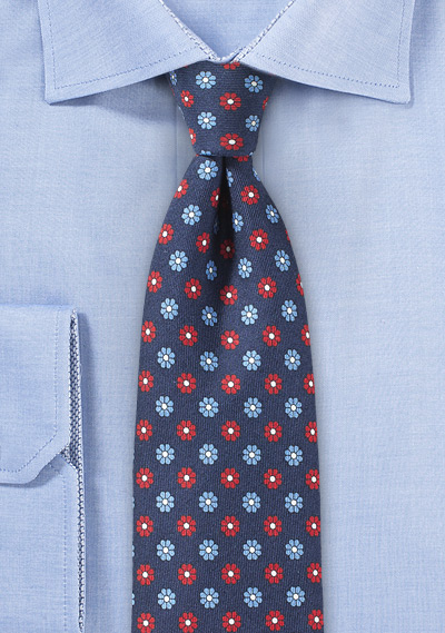 Slim Floral Summer Tie in Navy and Red