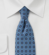 Geometric Skinny Tie in Blue Jean Color