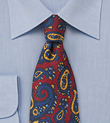 Wool Paisley Tie in Reds and Blues