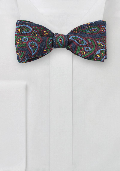 Colorful Wool Paisley Bow Tie
