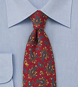 Designer Wool Paisley Tie in Red and Blue