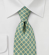 Faux Plaid Pattern Tie in Summer Lime