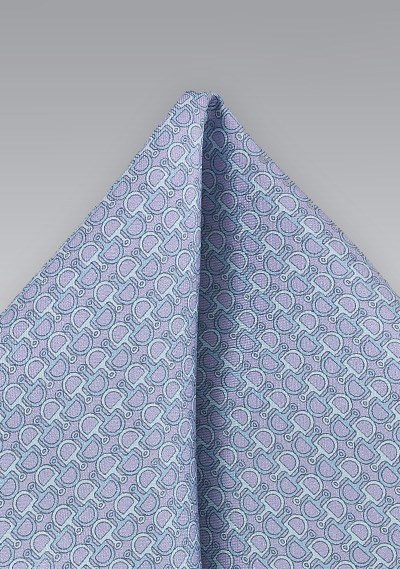 Lilac and Aqua Link Patterned Pocket Square