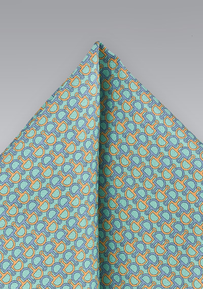 Charming Pocket Square in Aquas and Blues