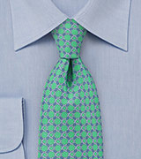 Mint Green Tie with Lilac Accents