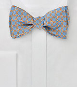 Graphic Tie in Aquas and Oranges