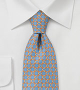 Celtic Patterned Tie in Blues and Oranges