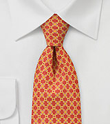 Delightfully Patterned  Tie in Tangerines and Yellows