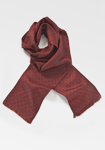 Traditional Gemstone Scarf in Burgundy Reds