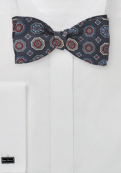 Traditional Motif Bow Tie in Blues and Merlots