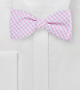 Gingham Bow Tie in Soft Pink