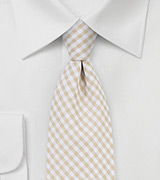 Gingham Cotton Tie in Golden Wheat