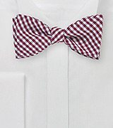 Burgundy and White Gingham Bow Tie