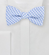Light Blue Cotton Bow Tie with Micro Checks