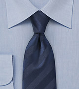 Classic Striped Navy Blue Necktie