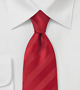Comtemporary Fire Engine Red Striped Necktie