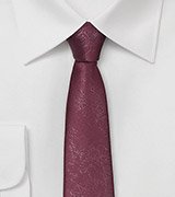 Skinny Burgundy Tie with Distressed Leather Look