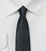 Worn Leather Looking Necktie in Skinny Style
