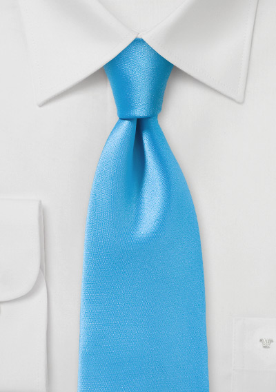 Summer Necktie in Solid Malibu Blue