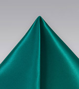 Solid and Vibrant Jade Pocket Square in Silk