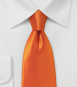 Contemporary Cut Tie in Electric Tangerine