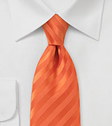 Bright Mandarin Orange Necktie in Narrower Cut