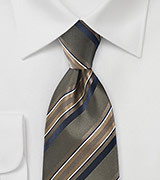 Striped Tie in Deep Moss