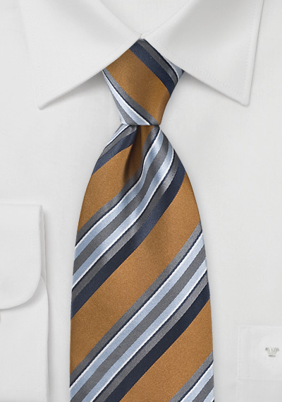 Thick Striped Tie in Bronze