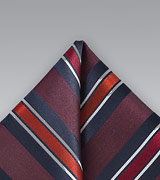 Boldly Striped Pocket Square in Merlot