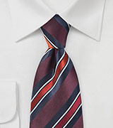 Classic Wide Striped Tie in Ruby Reds and Navys