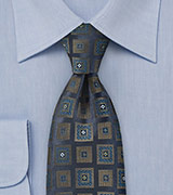 Ornate Square Patterned Tie in Navy Blue