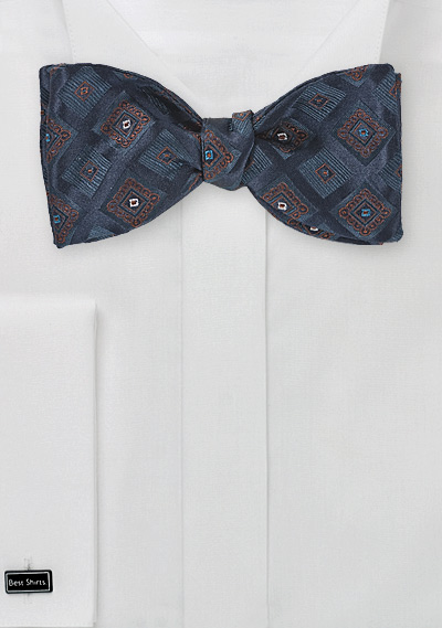Diamond Patterned Navy Blue Bow Tie