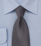 Navy Tie with Bronze Accents