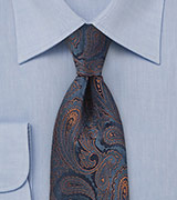 Paisley Patterned Tie in Navy Blue