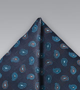 Mens Paisley Pocket Squre in Navy and Teals